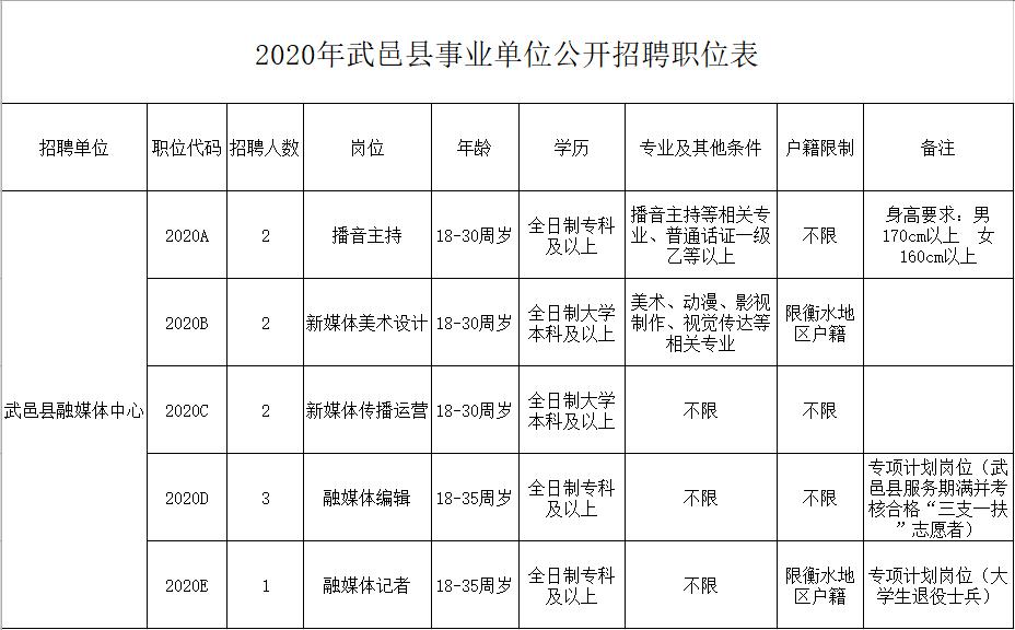 2020年衡水武邑县融媒体中心招聘工作人员公告