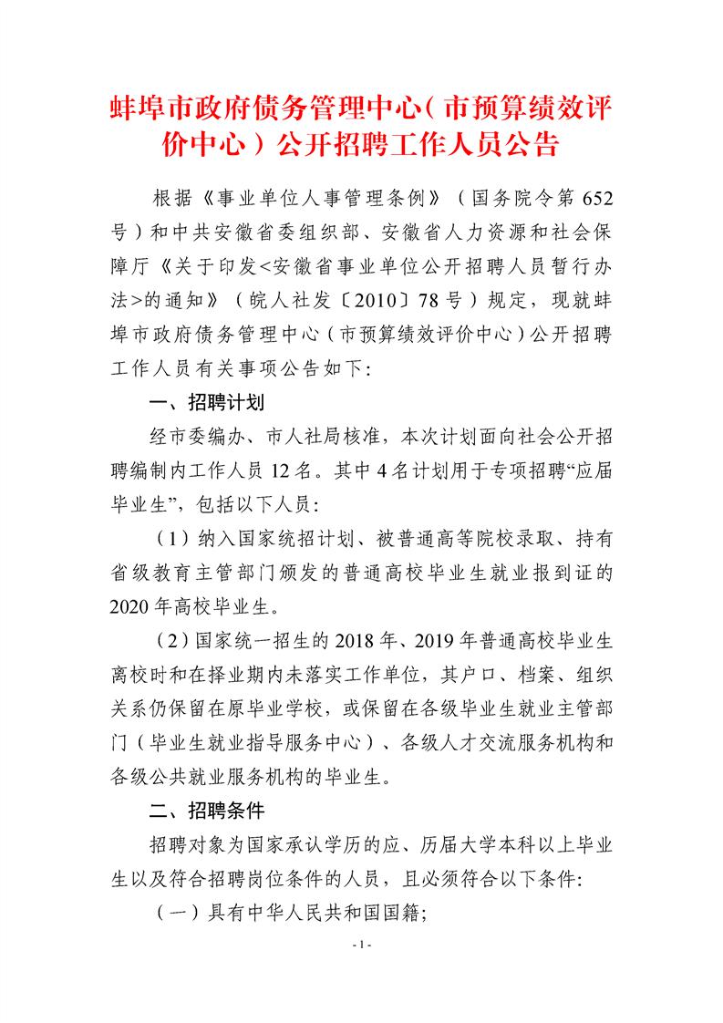 2020年蚌埠市政府债务管理中心(市预算绩效评价中心)招聘公告图1