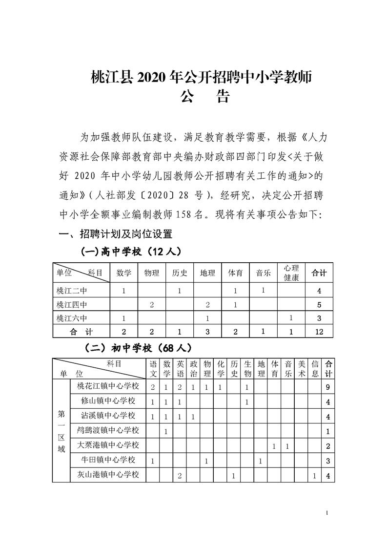 2020年益阳市桃江县招聘中小学教师公告图1