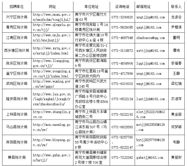 2020年南宁市各县(区)统计局招聘统计协管员(协统员)公告