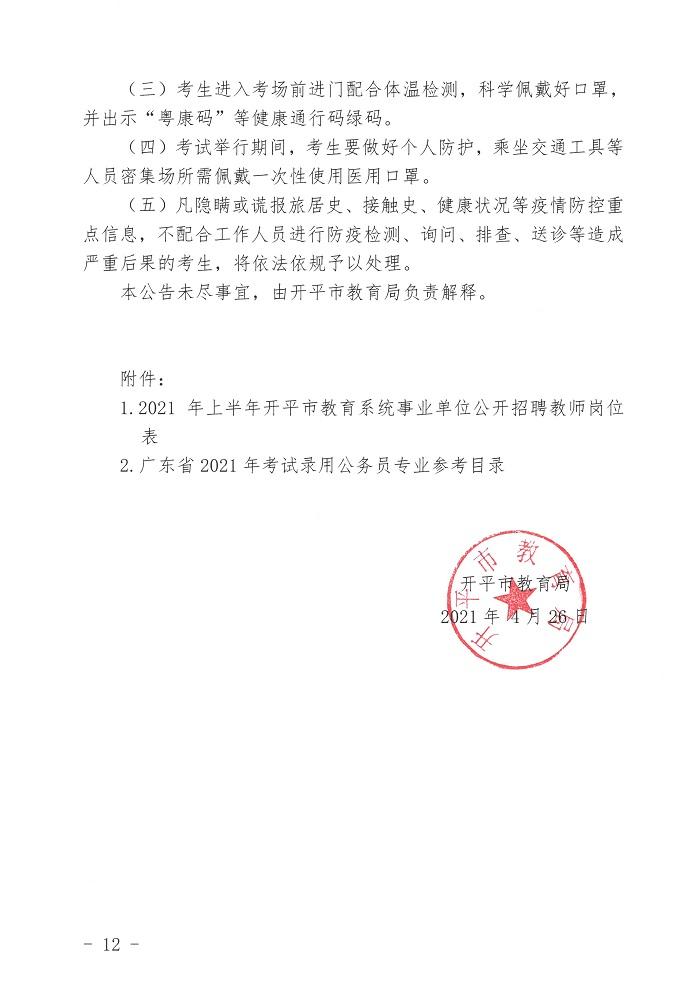2021上半年江门开平市教育系统事业单位招聘教师公告